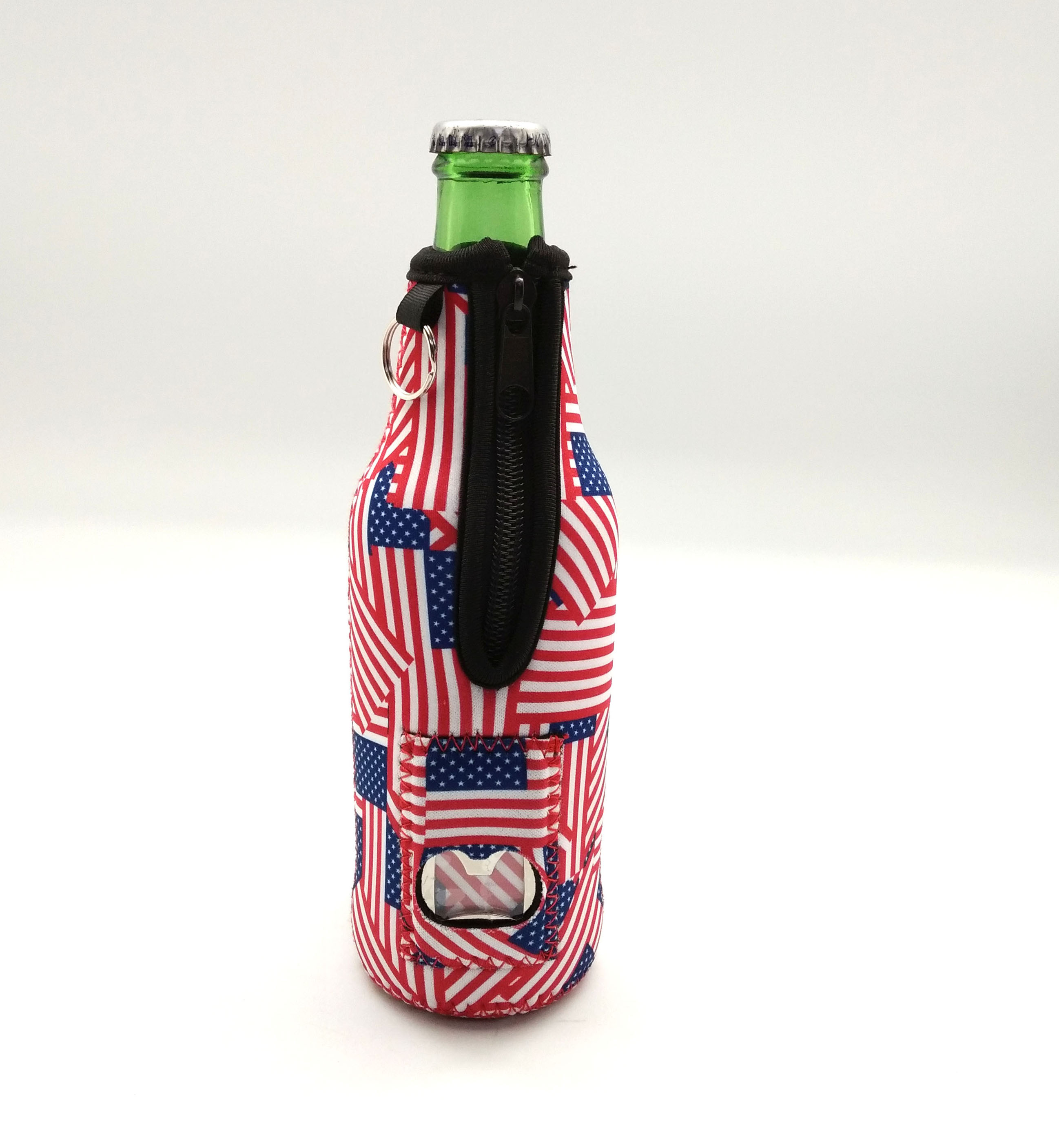 Beer Bottle Cooler With Bottle Opener, Cigarette & Lighter Holder (American) Front
